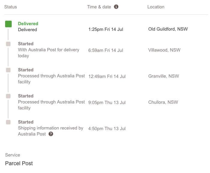 australia post tracking details