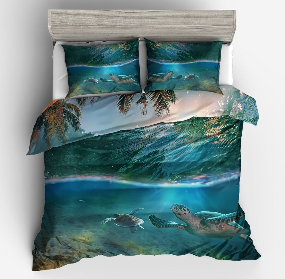 3d Sea Turtle Printed Duvet Cover Bedding Sets King Queen