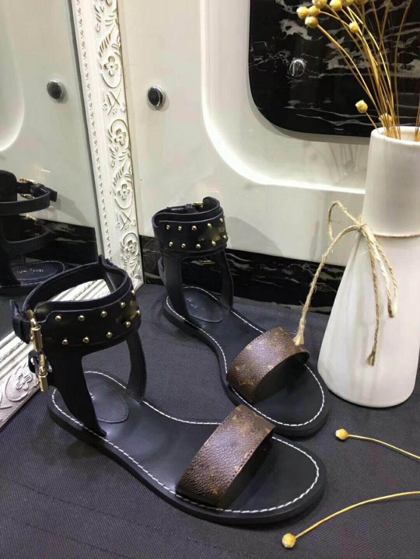 65ba1737a15e 2018 NEW Arrival WOMEN NOMAD SANDAL BLACK GOLD GLADIATOR FLAT SHOES ...