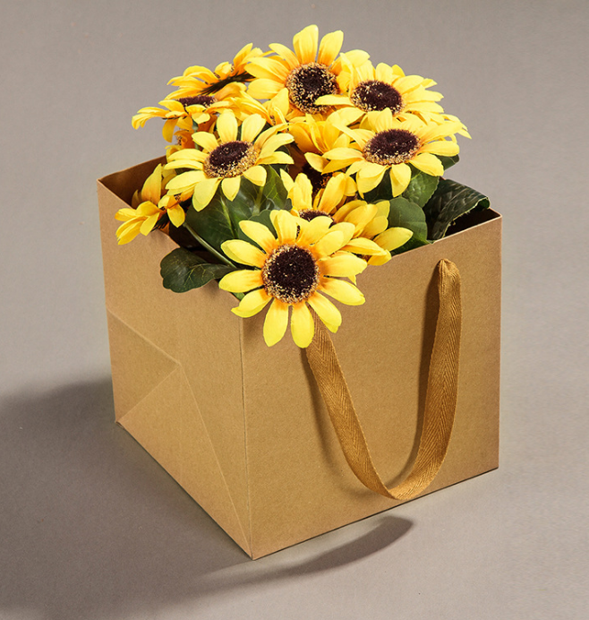 2018 xs brown paper bag more size flowers square bottom gift bag us 094 16piece mightylinksfo