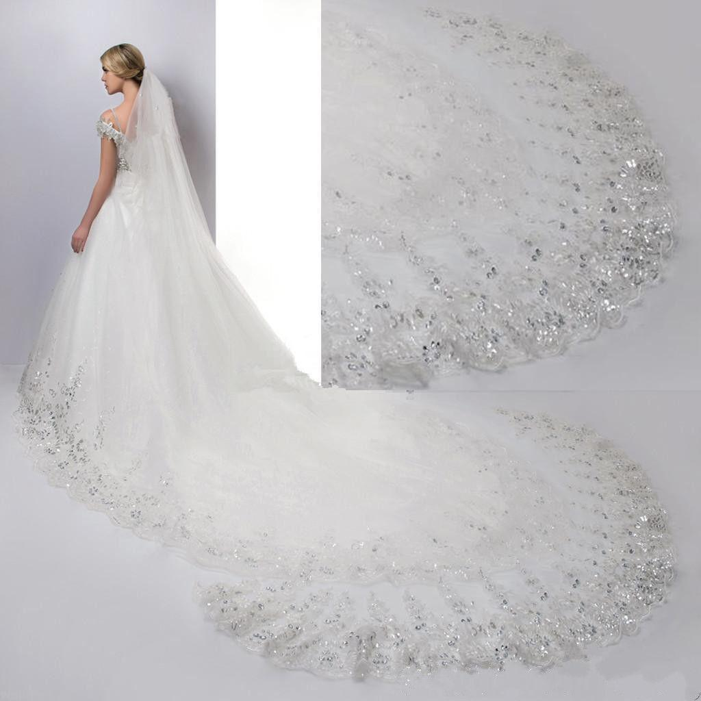 Custom New White Ivory Amazing Lace Sequin Crystal Wedding Veil Cathedral Length With Comb One Layer Bridal Veils Floor Around Train Russian