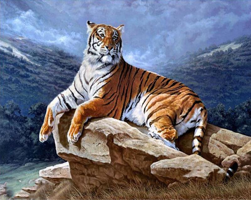Алмазная вышивка бенгальские тигры 96