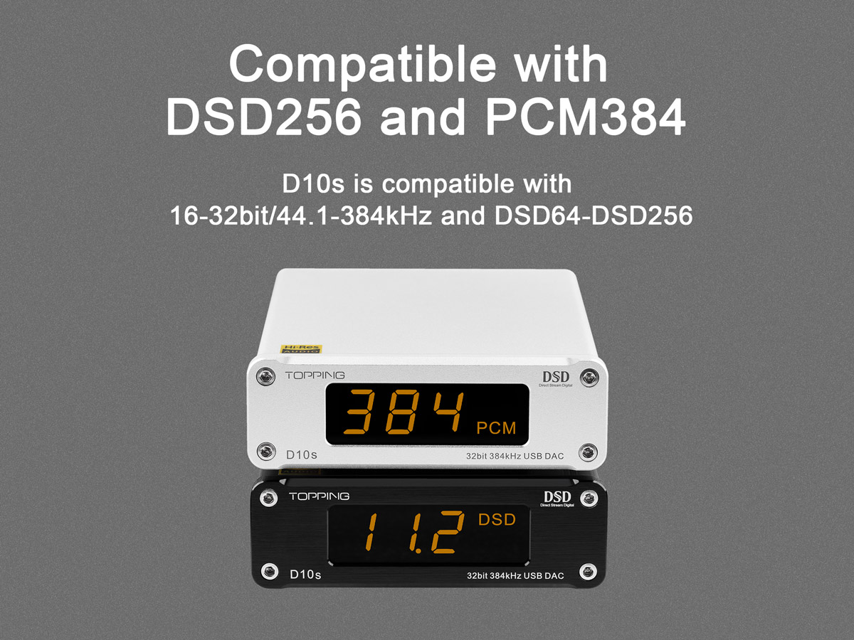 TOPPING D10s DAC is compatible with PCM384 and DSD256