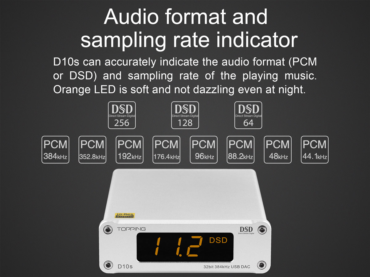 D10s can indicate the audio format and sample rate of the playing music file