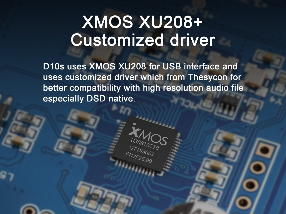 TOPPING D10s uses XMOS XU208+ USB interface and Thesycon drivers