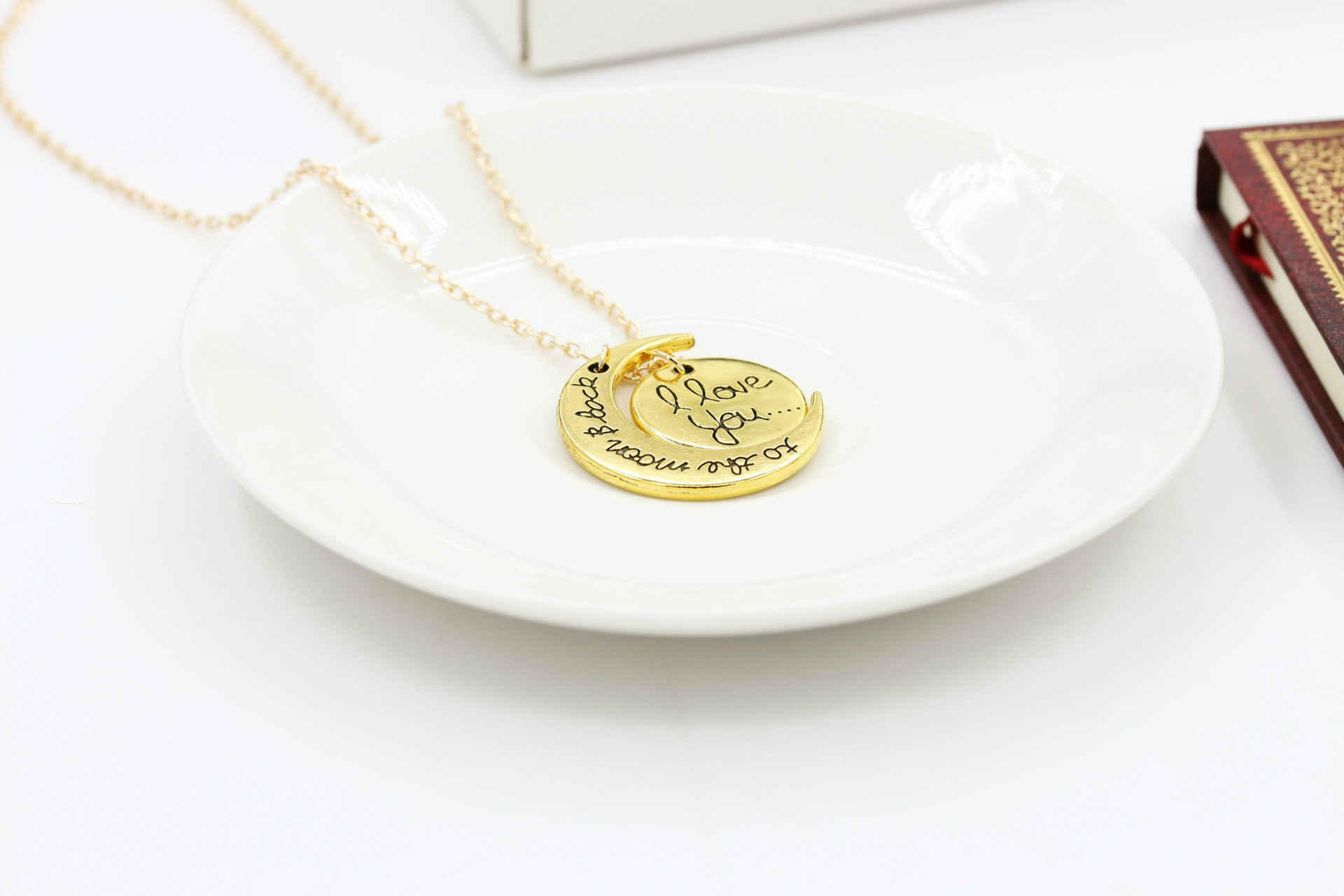 Wholesale I Love You Necklace To The Moon And Back Silver Kalung Style Beatylove Color Silvergold Length Approx45 5cm 177 196 Because Of Size Measurements Are Handmade So There May Be 1 3cm Error
