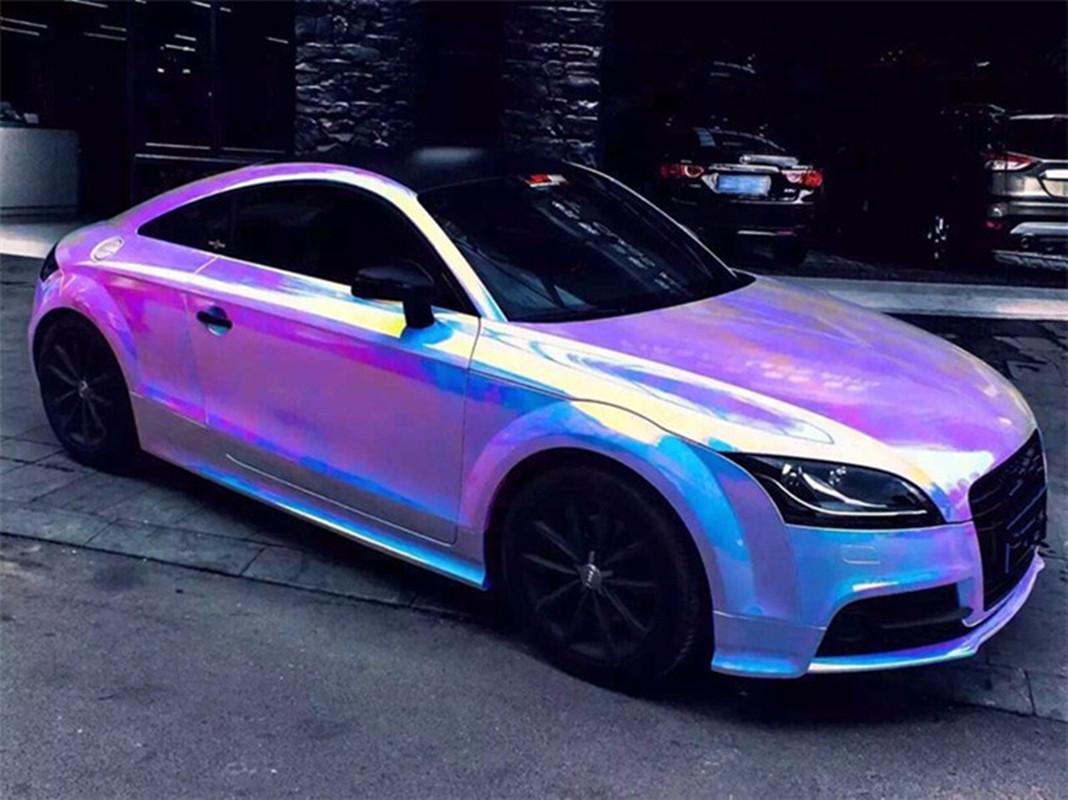 Holographic White Backing Rainbow Neo Chrome Car Vinyl