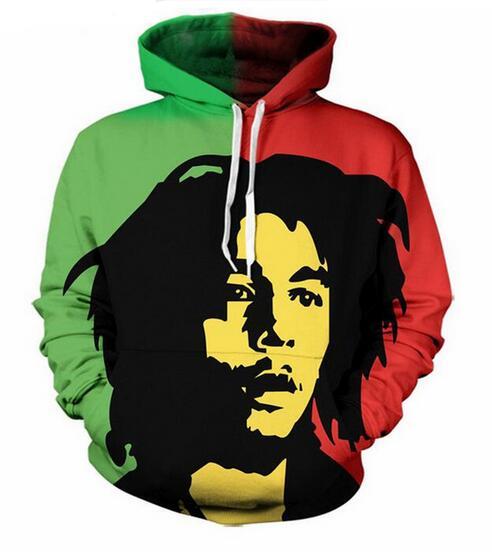 Bob Marley 3D Imprimer drôle Hommes Femmes Sweat à Capuche Sweat-shirt Pullover Tops Pull