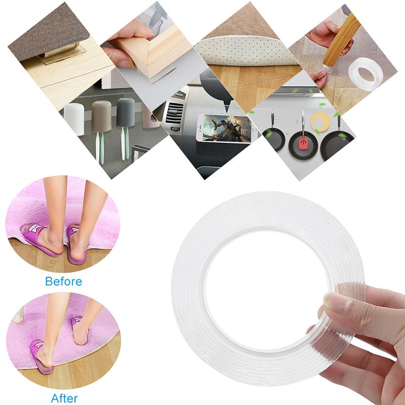 4pcs Ruban adhésif Double face Nano Transparent sans Trace ruban magique acrylique réutiliser ruban adhésif étanche 2 m nettoyable