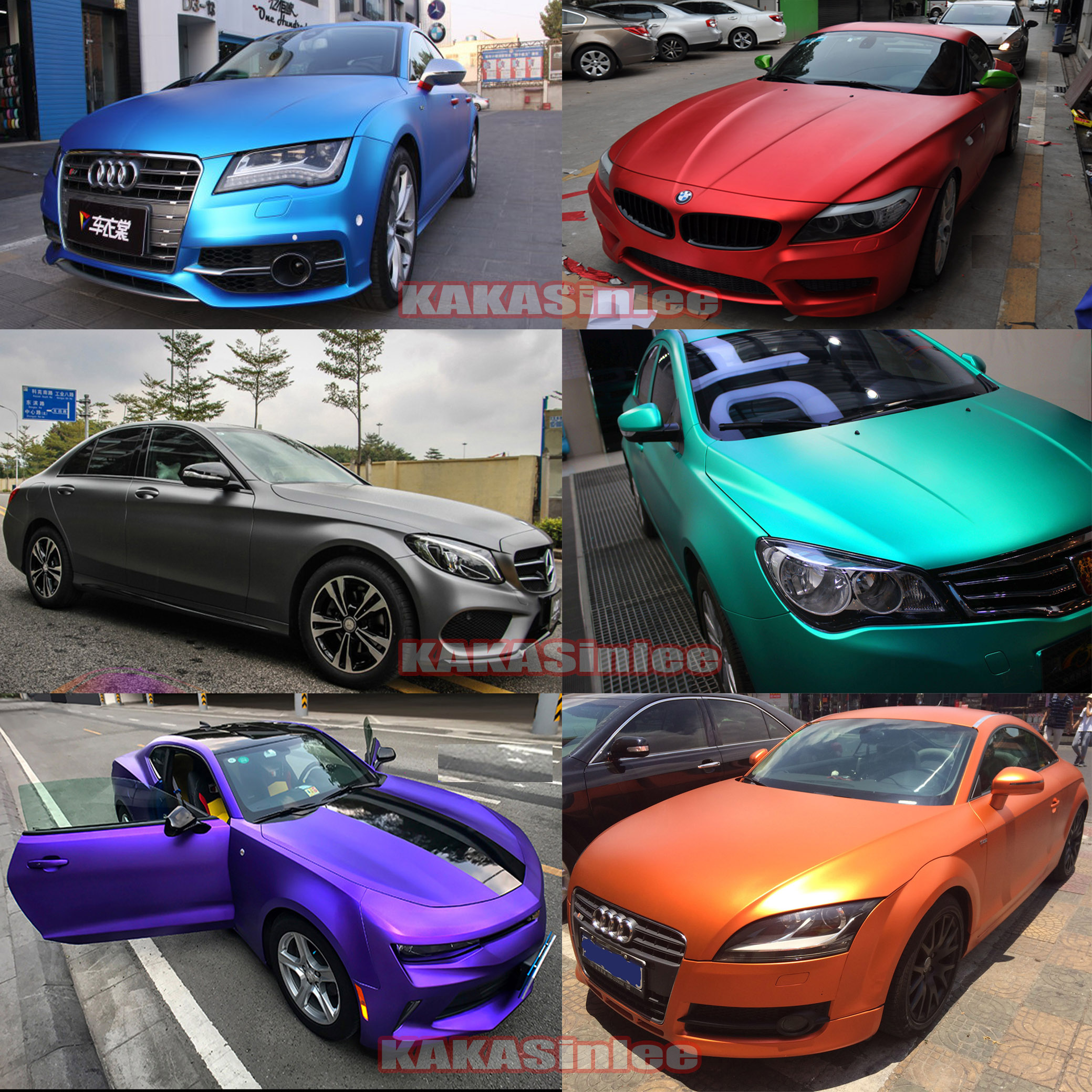 10 Colors Car Stretch Satin Matte Metallic Chrome Vinyl Wrap