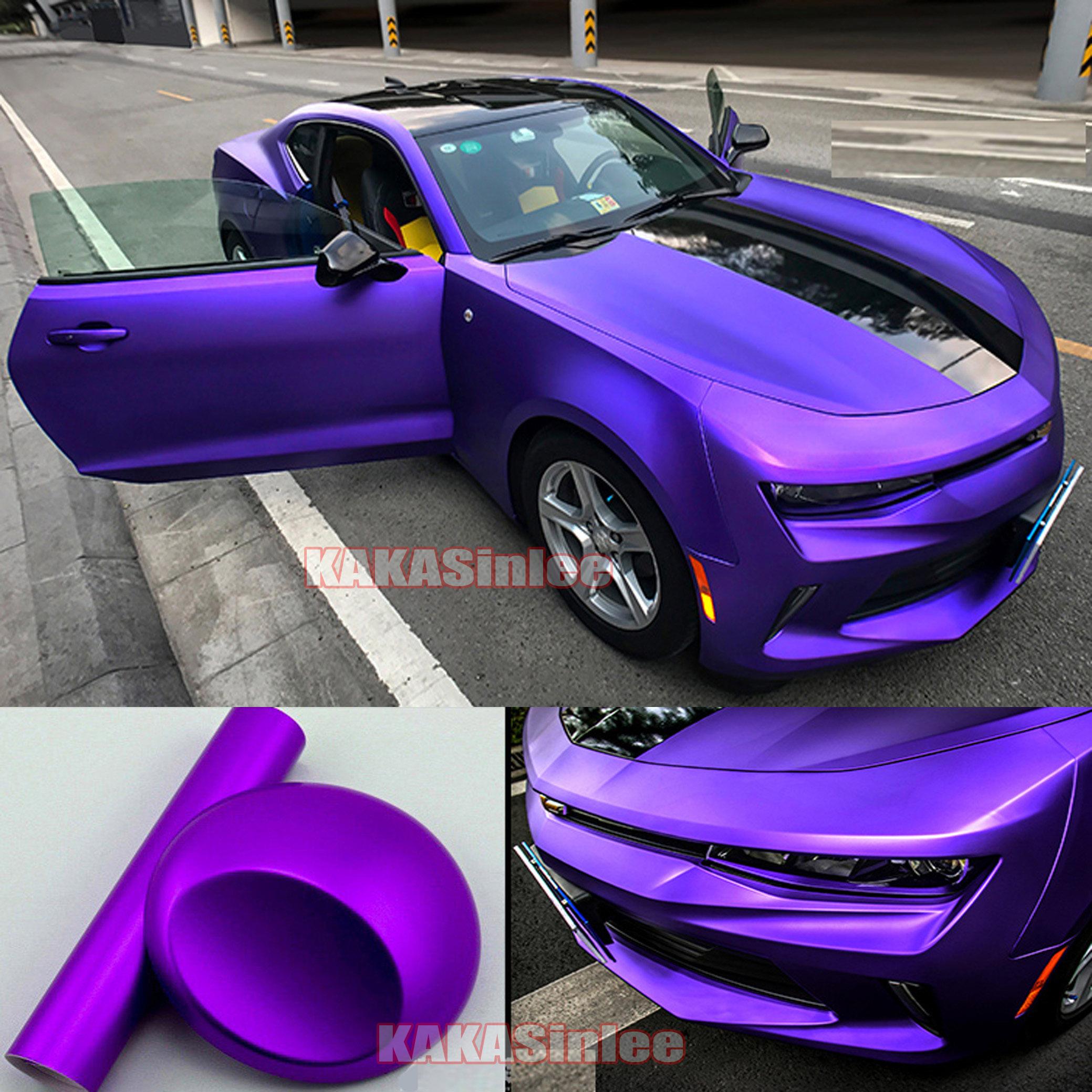 Metallic Matte Chrome Vinyl Wrap Film Sticker Car Hood Bumper Laptop Purple DIY
