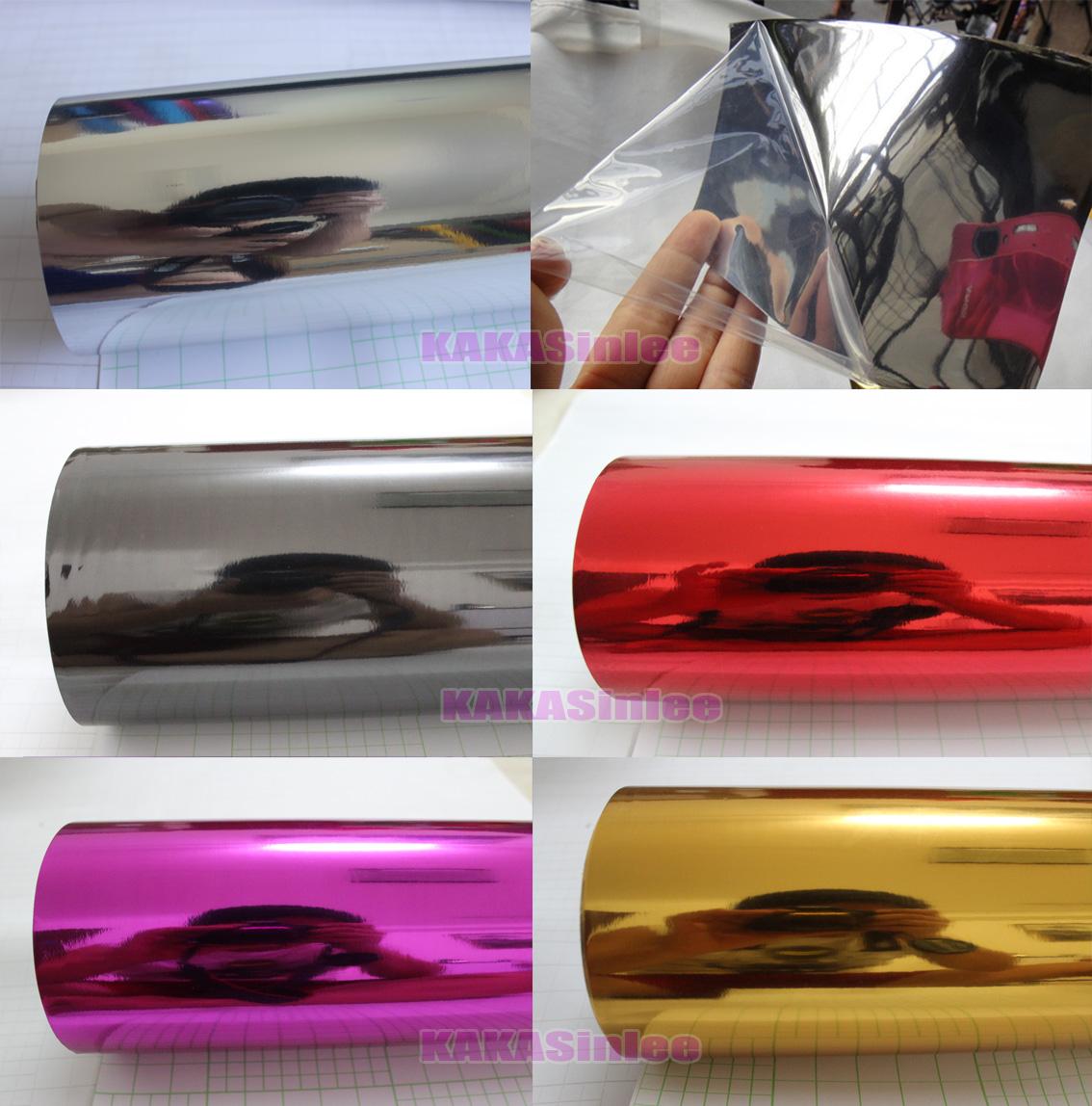 Fashion 12 X 60 Car Flat Glossy Mirror Chrome Vinyl Wrap Sticker Sheet Film HD
