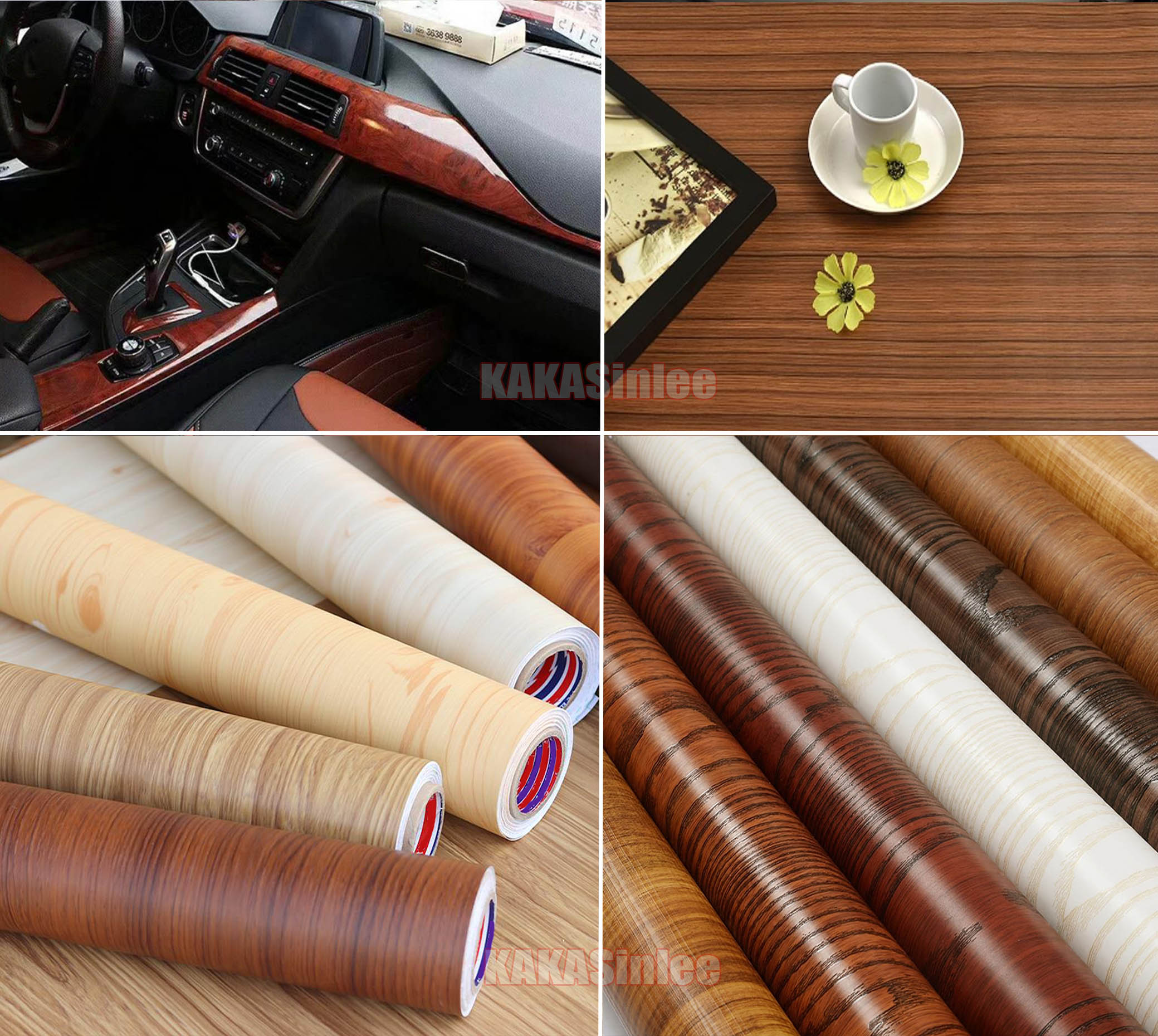 House Car Self Adhesive Matte Glossy Wood Textured Grain