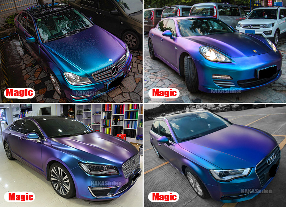 Blue CF Car Pearl Metal Satin Matte Chameleon Chrome Vinyl Wrap Sticker Purple
