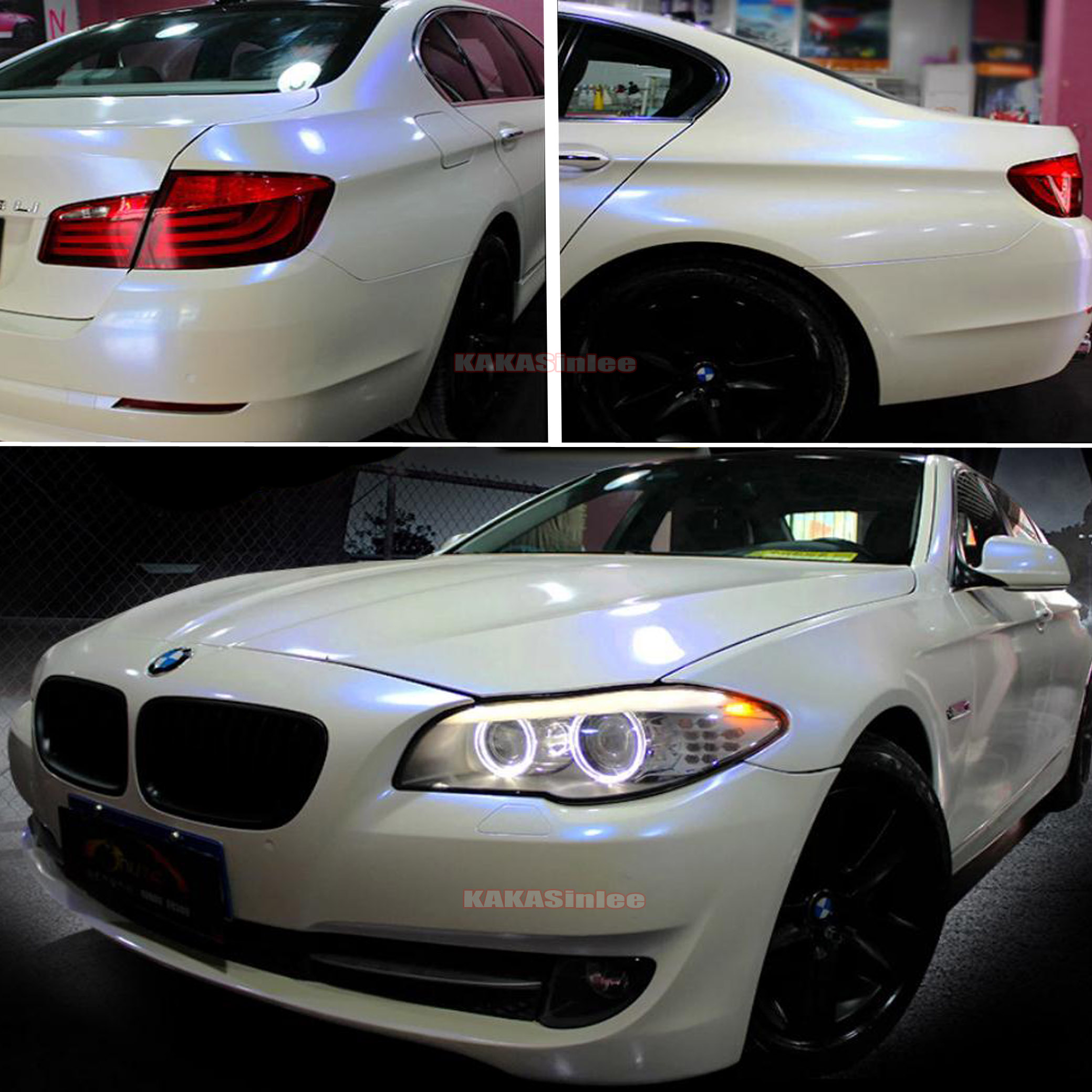 Glossy Entire Car Wrap Pearl White To Blue Chameleon
