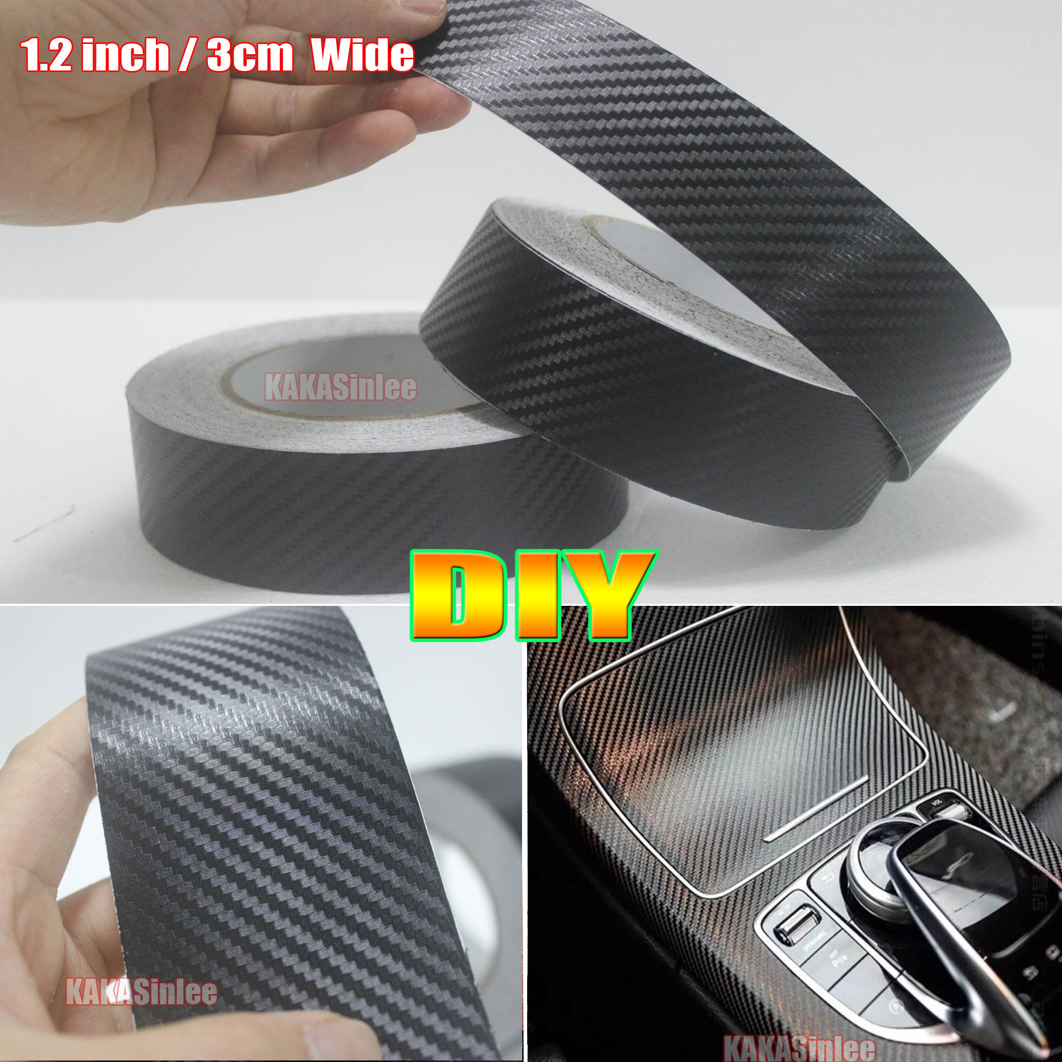 Adhesive 3D Texture Carbon Fiber Black Vinyl Tape DIY Car Furniture Wrap Sticker