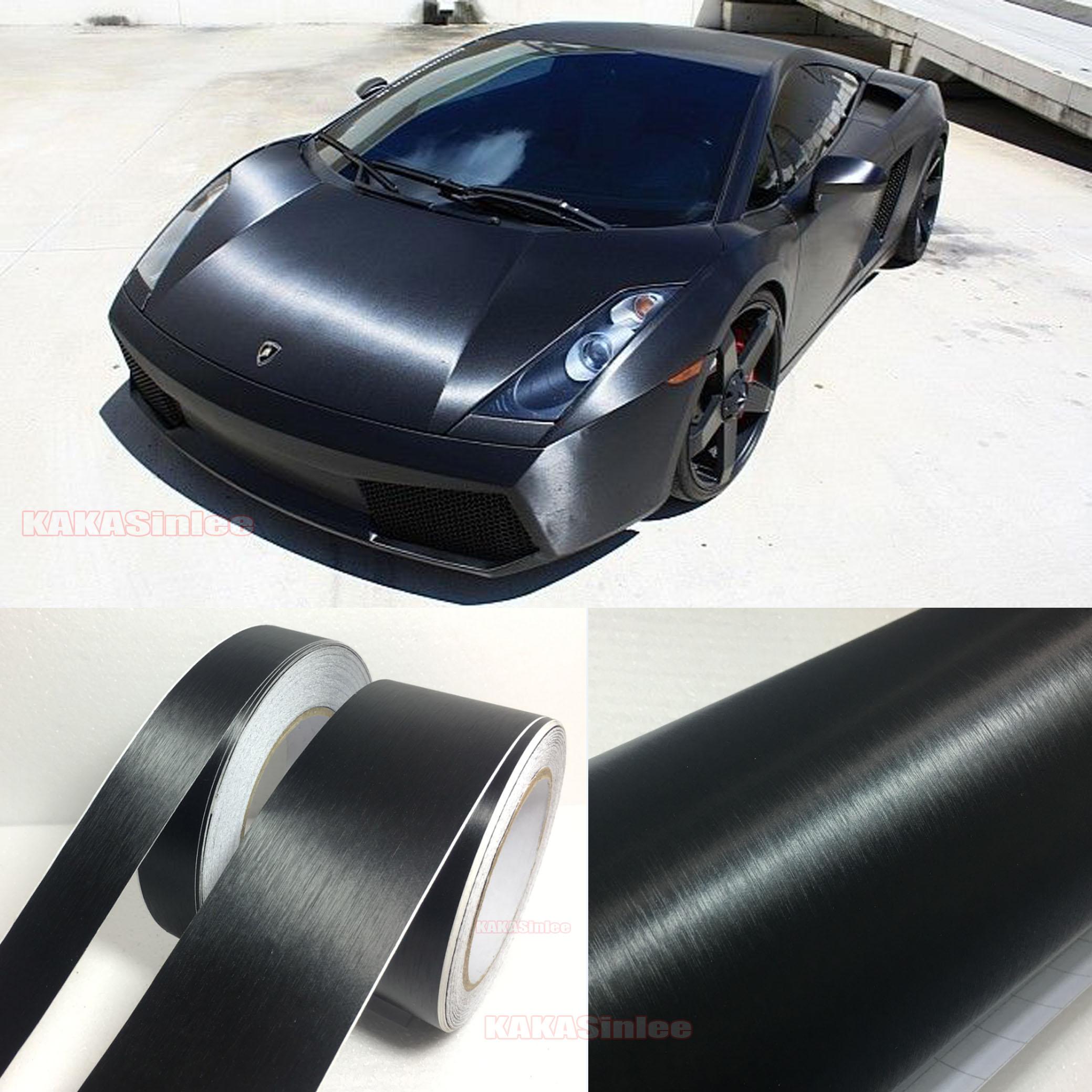 Details About Bubbles Free Car Metal Brushed Matte Aluminum Vinyl Wrap Sticker Film Black Ab