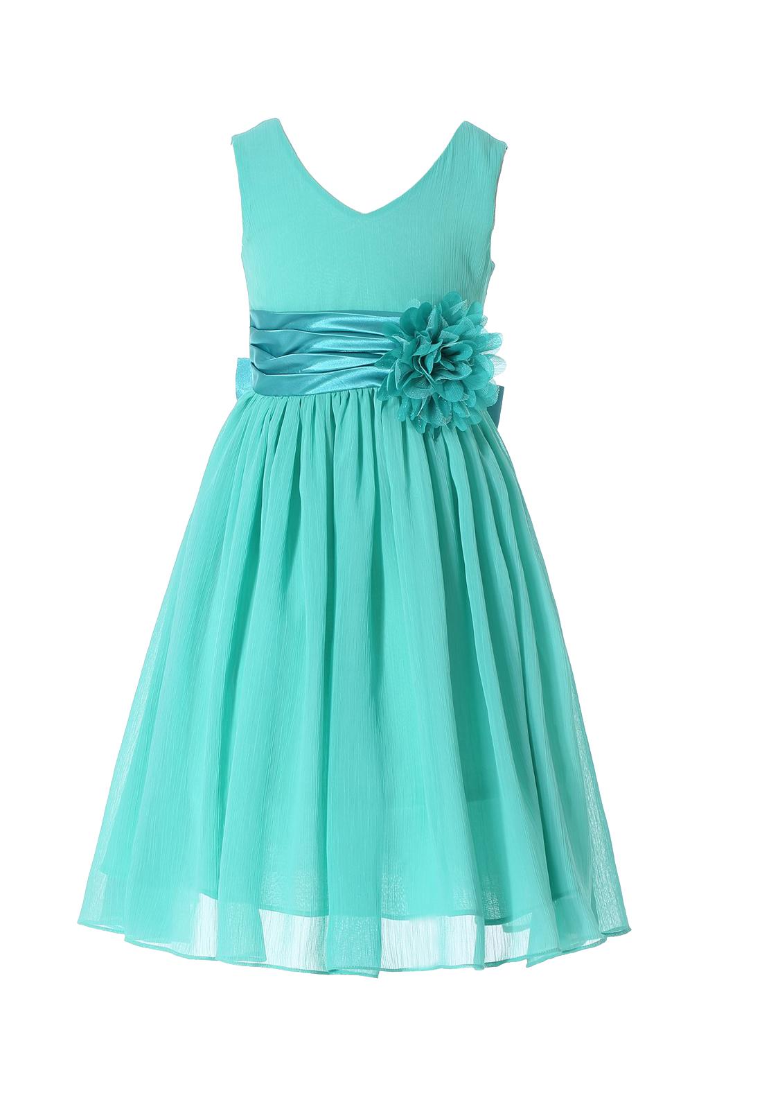 5513754e28c Bow Dream Turquoise 6 Pageant Flower Girl Dress sleeveless ...
