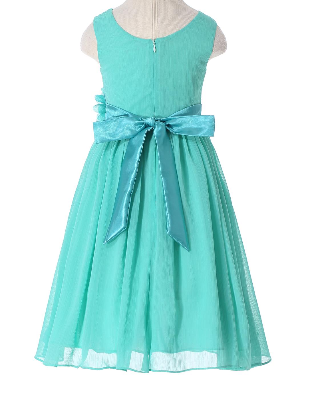 Bow Dream Turquoise 6 Pageant Flower Girl Dress sleeveless ...