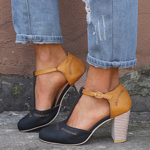 abdc7eaa504 Women Vintage Color Block Sandals Casual Chunky Heel Buckle Shoes ...