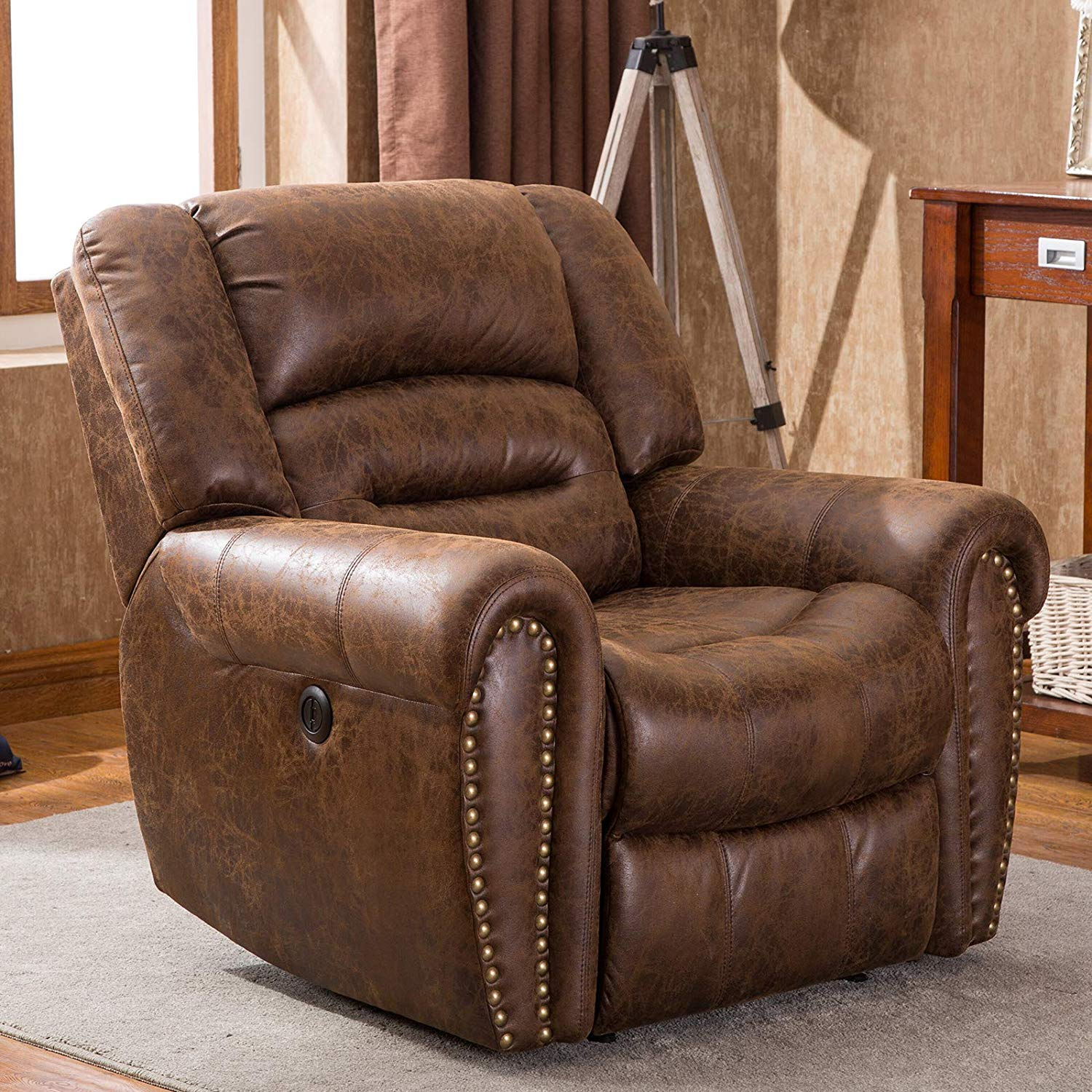 Electric Power Recliner Chair W Breathable Bonded Leather