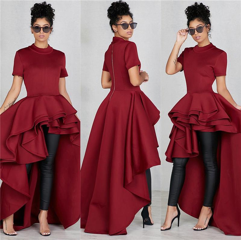 Details about Fashion Women XXL Plus Size Shirt Dress Short Sleeve High-low  Peplum Party Dress