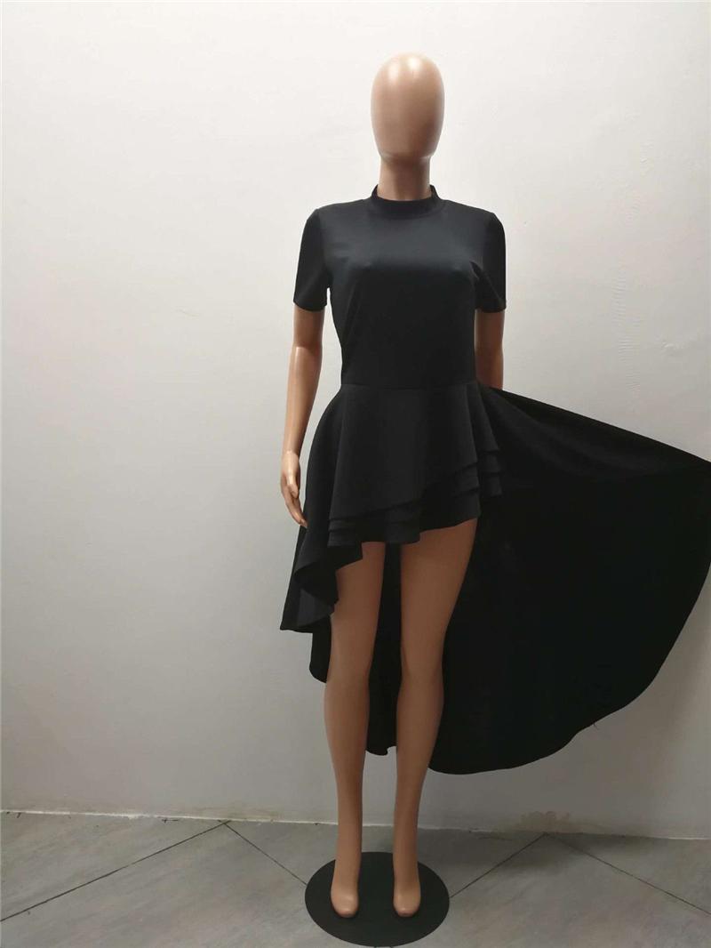 New Women L-4XL Plus Size Shirt Dress Short Sleeve High-low Peplum Party Dresses