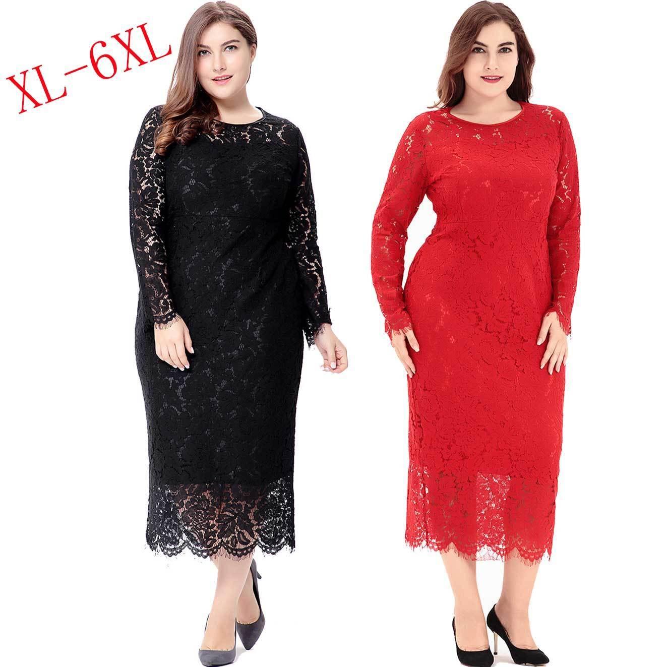 Details about Fashion XL-6XL Plus Size Dress Elegant Lace Long Winter Dress  Party Maxi Dresses