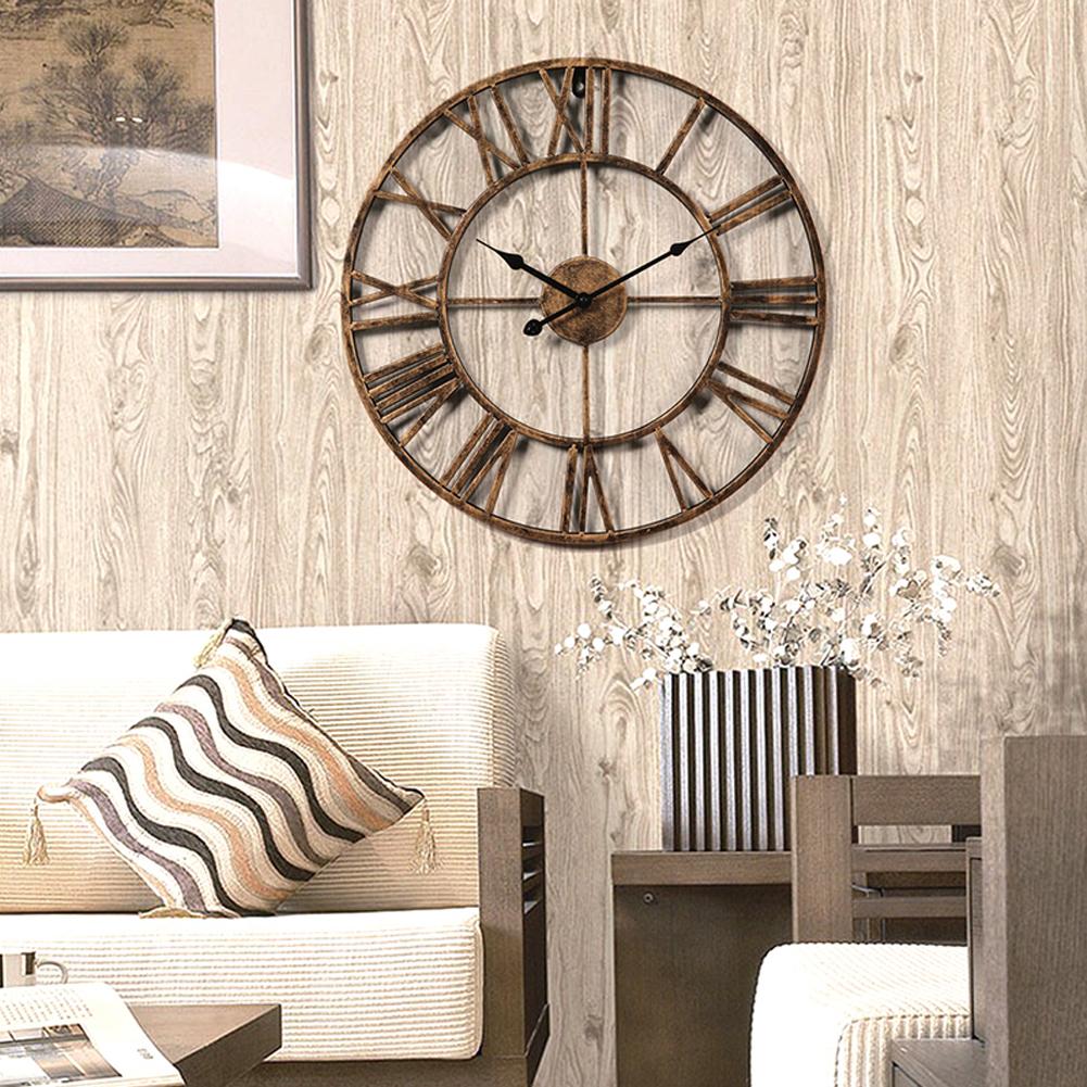 20 inch Oversized Big Metal Vintage Wall Clock Retro Wrought Iron ...