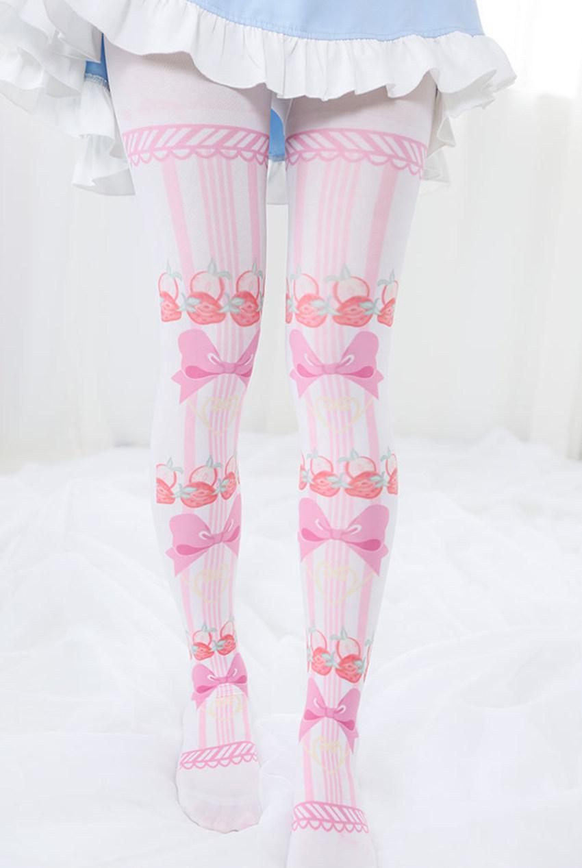 2720389d685 Details about Kawaii Cute Strawberry Bowknot Printing Japan Tights Pantyhose  Socks Stockings