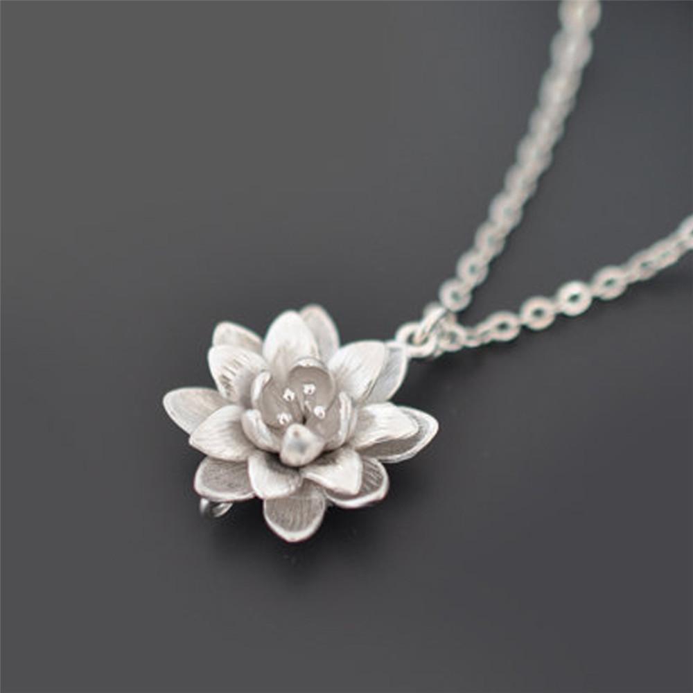 Women Silver Plated Lotus Flower Necklaces Pendants