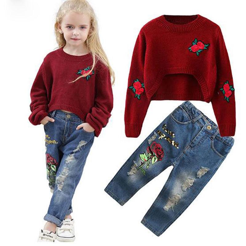 Baby Girl 2Pcs Clothes Set Long Sleeve Sweatshirt T-shirt Pants Trousers Outfits