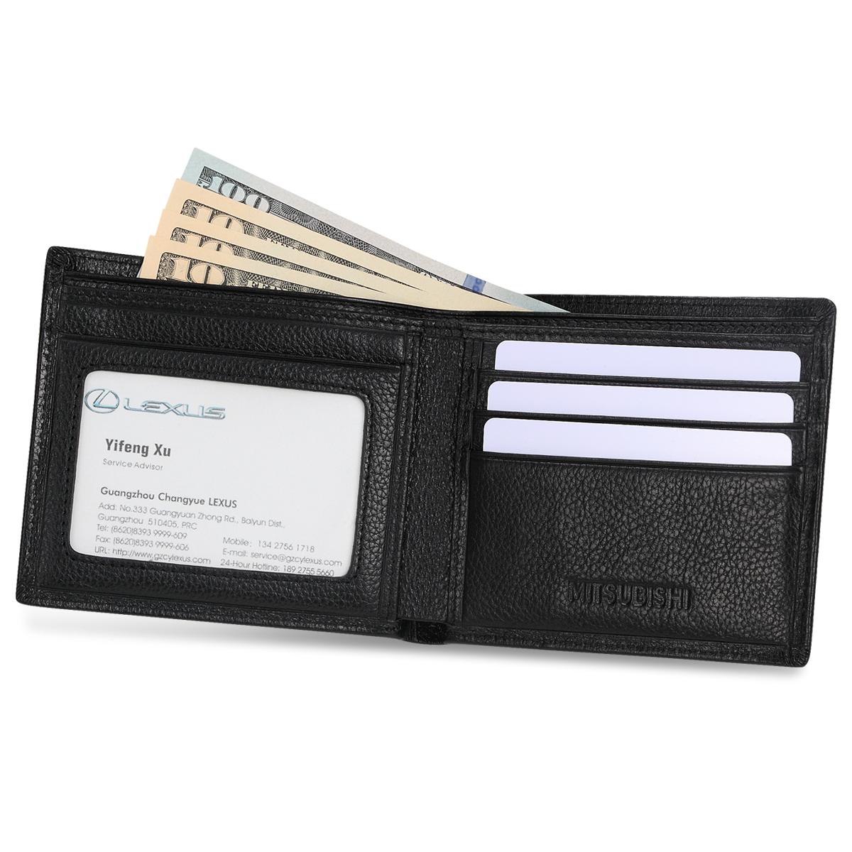 Genuine Leather Mitsubishi Bifold Wallet with 3 Card Slots and ID Window
