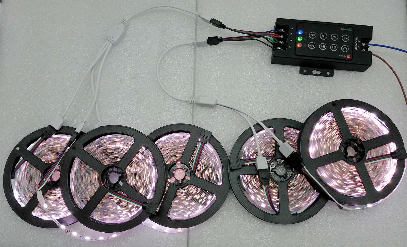 25m Waterproof Rgb Led Strip Light Smd 5050 Tape 30a Rf Remote 120v Strips Wiring Diagram 5 Roll 60leds M