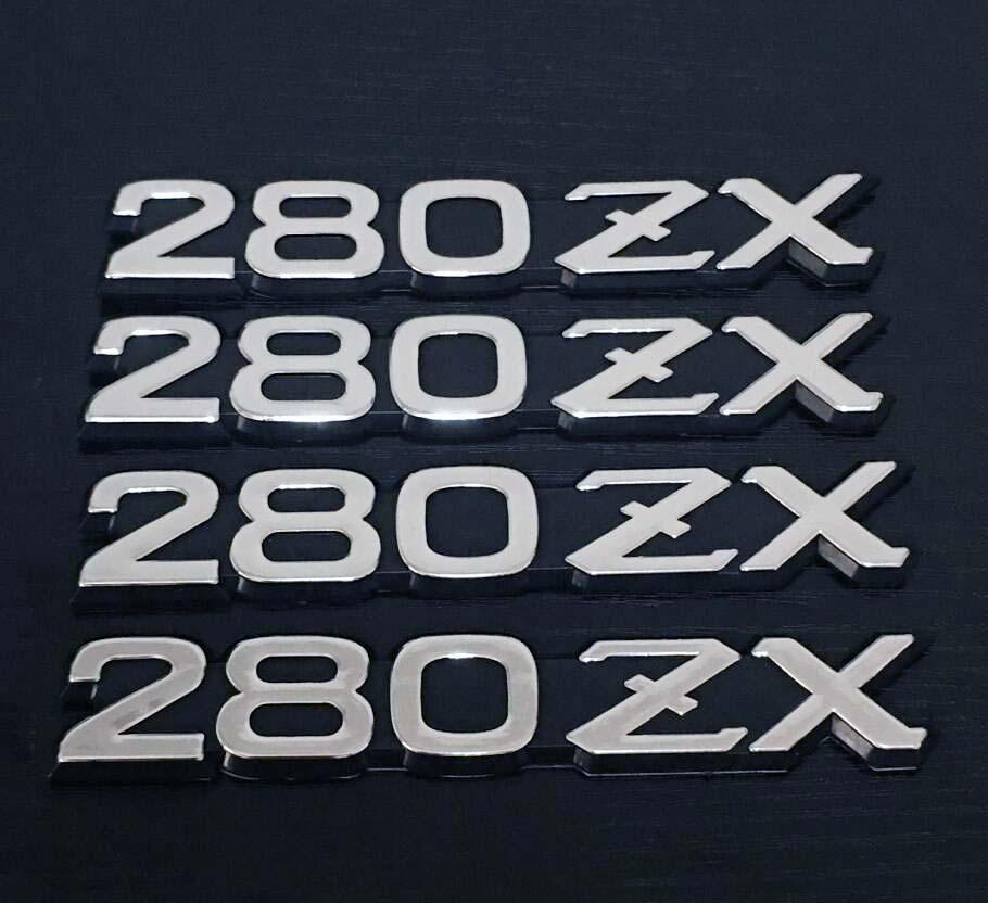 4X Silver OEM Datsun Fairlady-Z 280ZX Logo Front Fender Side Emblem Badges ABS