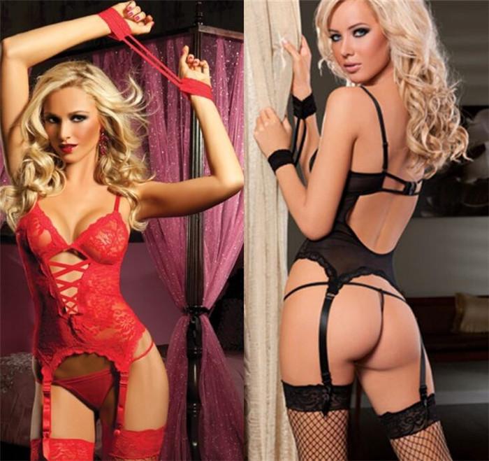 Women Lace Sexy Lingerie Dress G string Handcuff Garter Belt SET  c9b568bba
