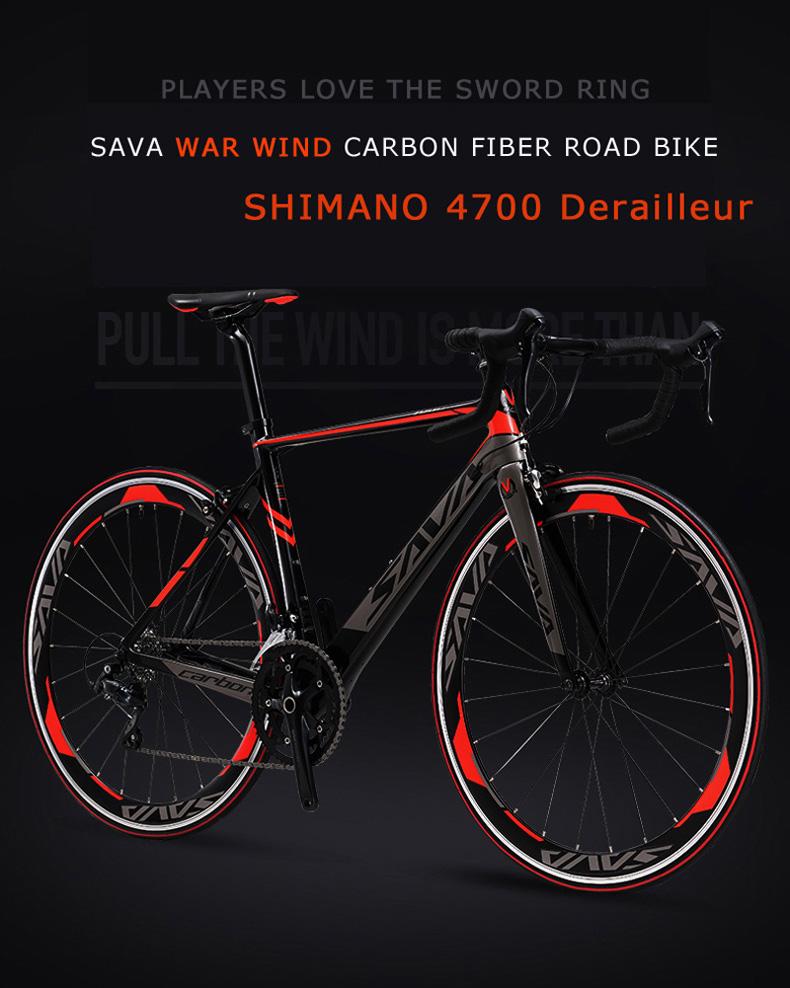 SAVA 700C Road Bike Carbon Fiber Frame / Fork / Seatpost Cycling Bicycle 20  Speed SHIMANO TIAGRA 4700 Group Set Bicicleta 48/50/52cm